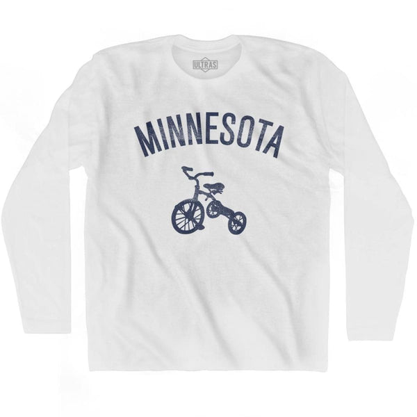 Minnesota State Tricycle Adult Cotton Long Sleeve T-shirt - White / Adult Small - Tricycle State