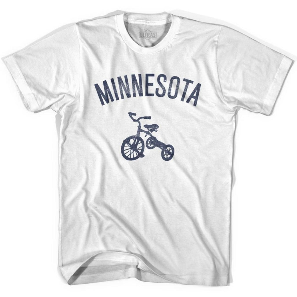 Minnesota State Tricycle Adult Cotton T-shirt - White / Adult Small - Tricycle State