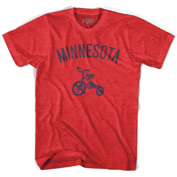 Minnesota State Tricycle Adult Tri-Blend T-shirt - Heather Red / Adult Small - Tricycle State