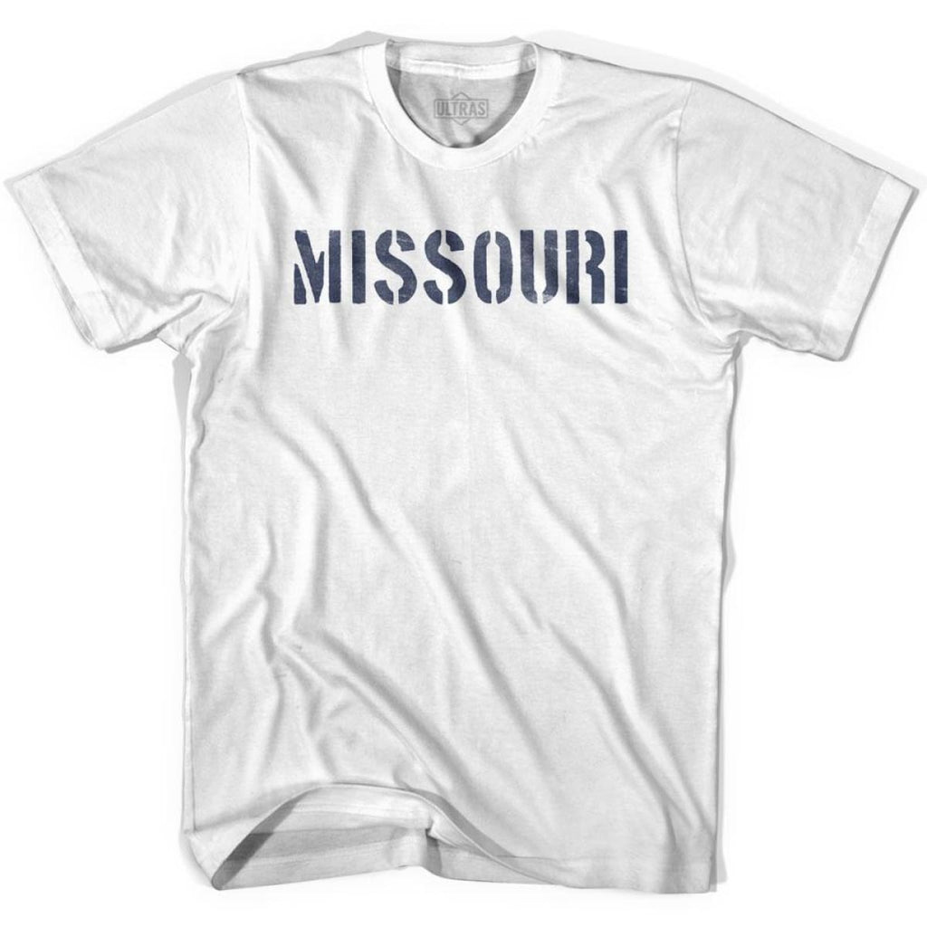 Missouri State Stencil Youth Cotton T-shirt - White / Youth X-Small - Stencil State