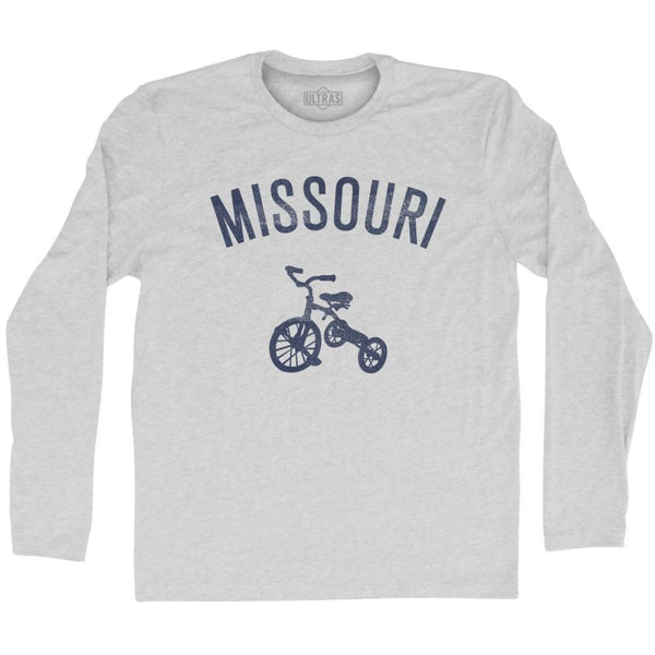 Missouri State Tricycle Adult Cotton Long Sleeve T-shirt - Grey Heather / Adult Small - Tricycle State