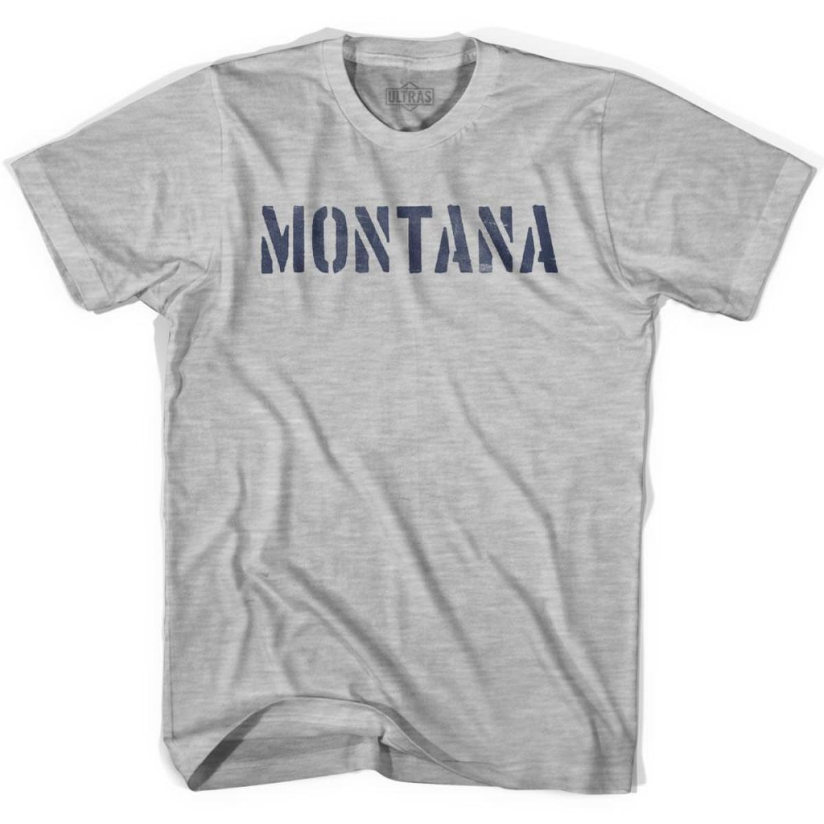 Montana State Stencil Adult Cotton T-shirt - Grey Heather / Adult Small - Stencil State