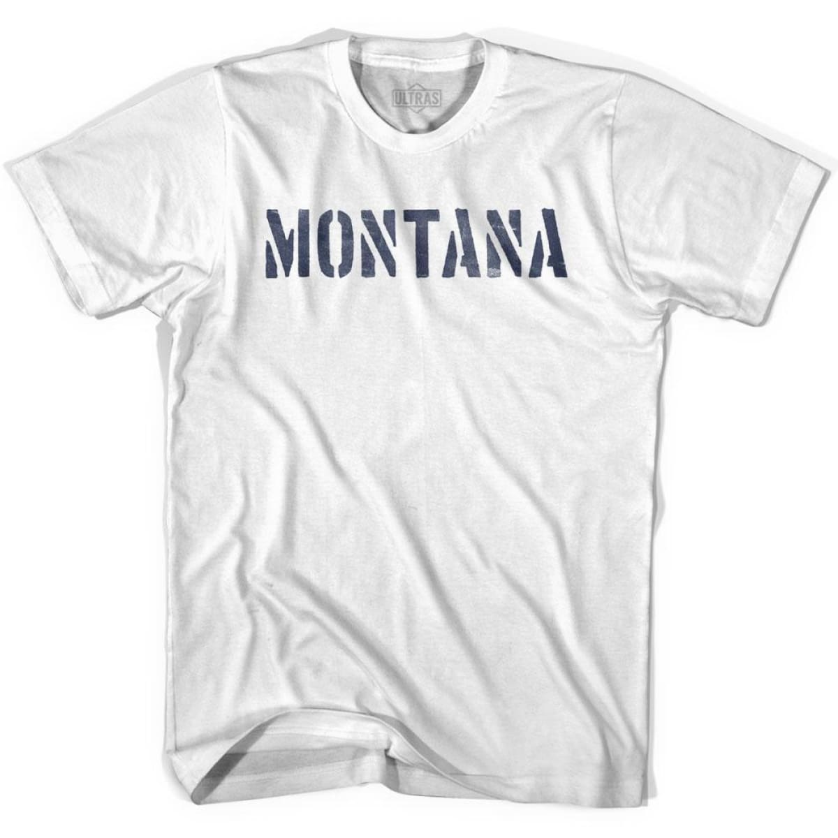 Montana State Stencil Adult Cotton T-shirt - White / Adult Small - Stencil State