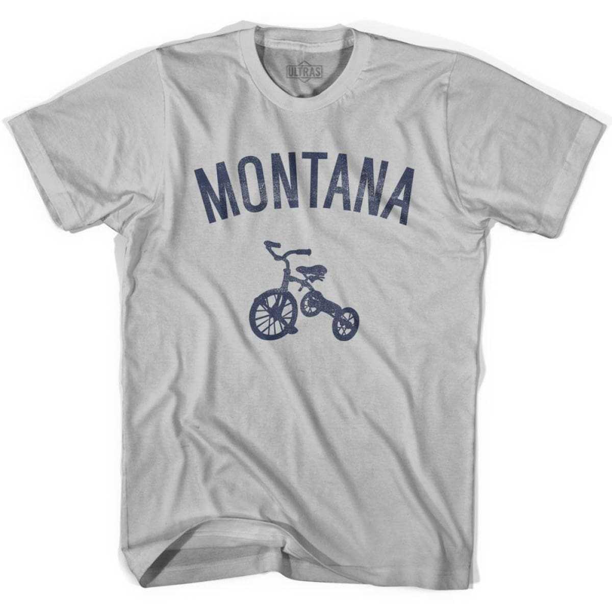 Montana State Tricycle Adult Cotton T-shirt - Cool Grey / Adult Small - Tricycle State
