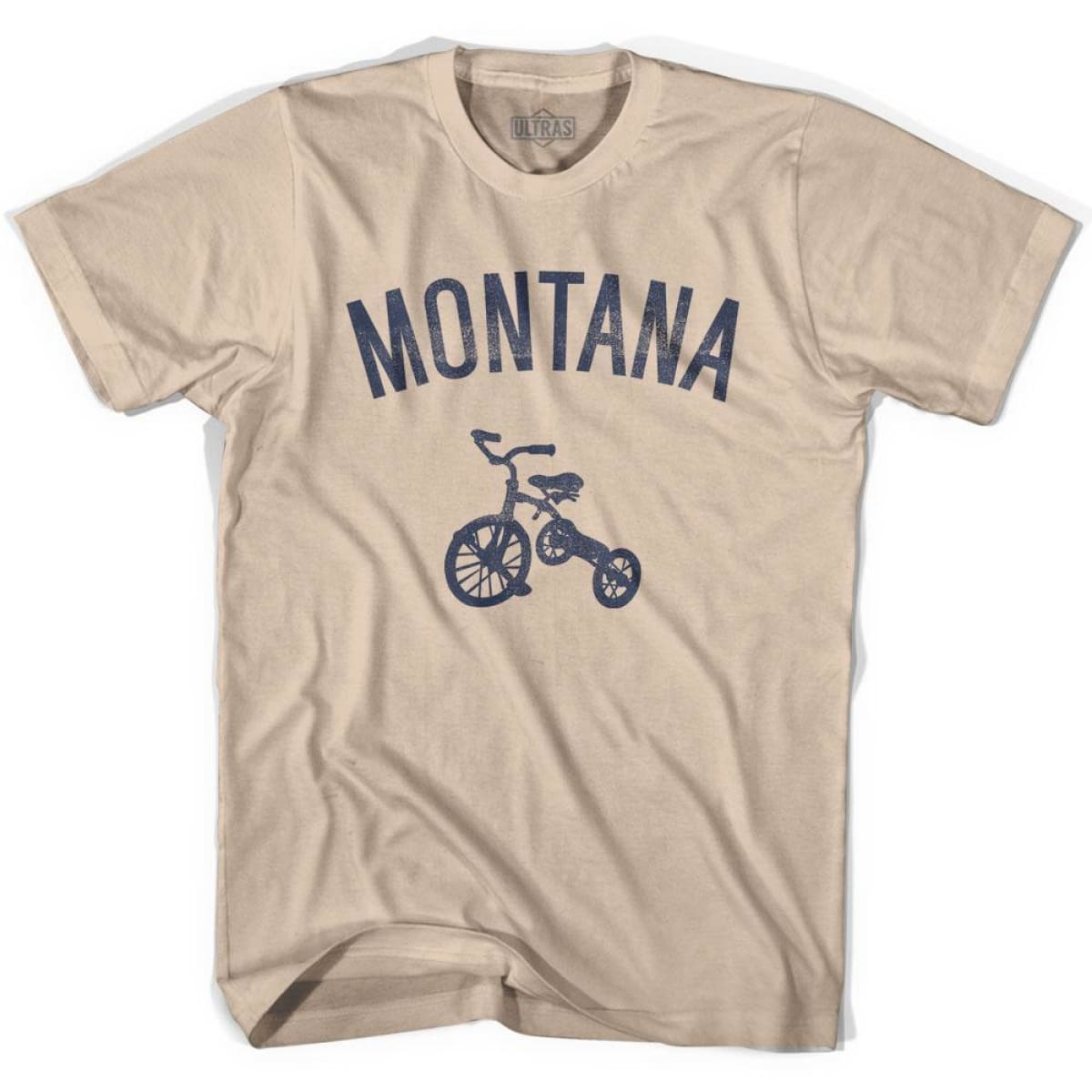 Montana State Tricycle Adult Cotton T-shirt - Creme / Adult Small - Tricycle State