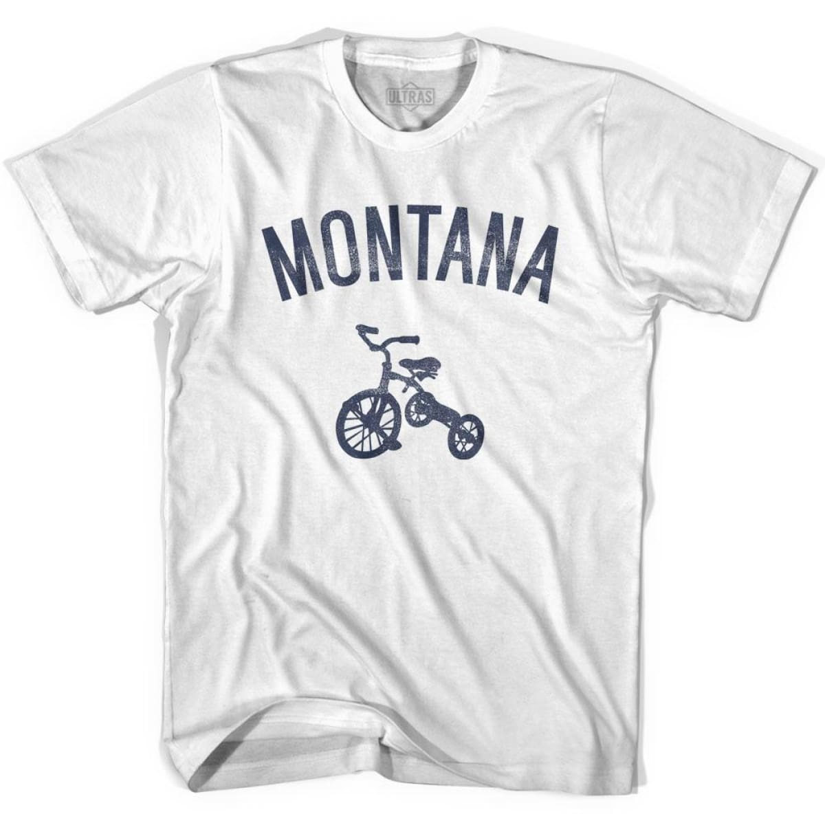 Montana State Tricycle Adult Cotton T-shirt - White / Adult Small - Tricycle State