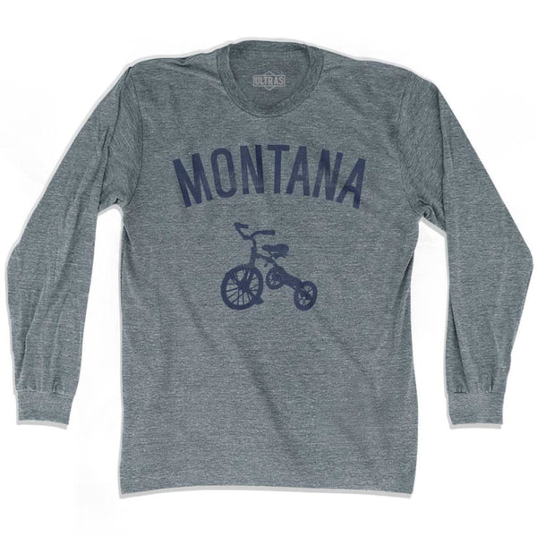 Montana State Tricycle Adult Tri-Blend Long Sleeve T-shirt - Athletic Grey / Adult Small - Tricycle State