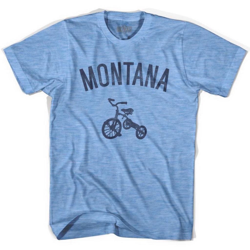 Montana State Tricycle Adult Tri-Blend T-shirt - Athletic Blue / Adult Small - Tricycle State