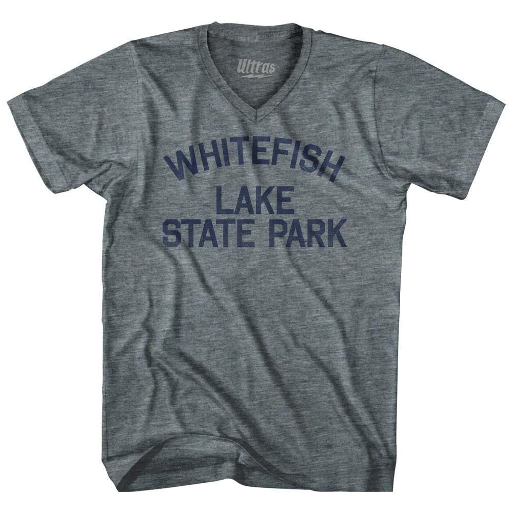 Montana Whitefish Lake State Park Adult Tri-Blend V-neck Vintage T-shirt by Ultras