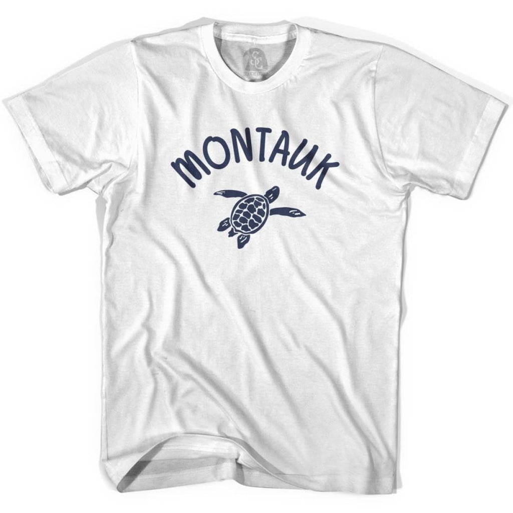 Montauk Beach Sea Turtle Adult Cotton T-shirt - White / Adult Small - Turtle T-shirts