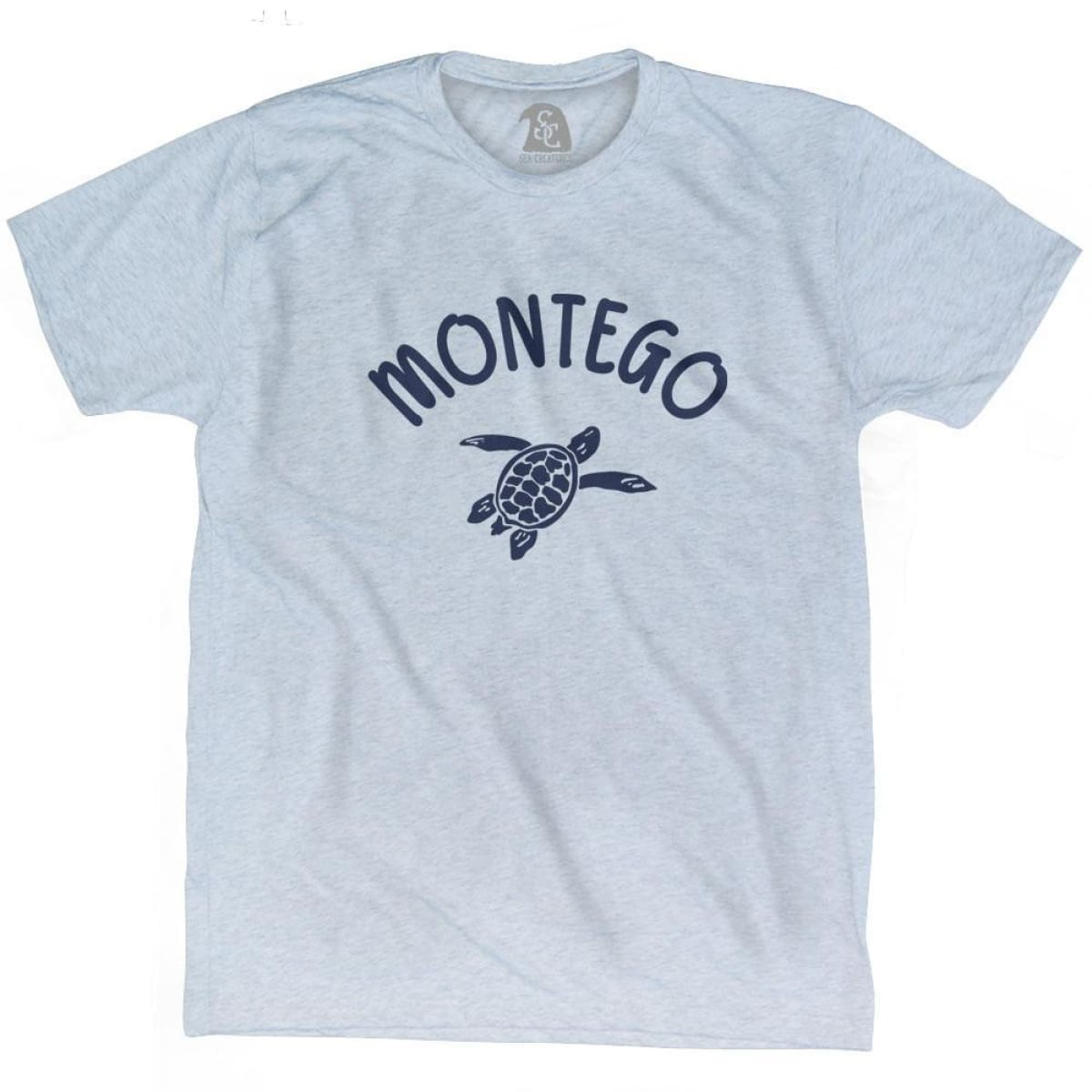 Montego Beach Sea Turtle Adult Tri-Blend T-shirt - Athletic White / Adult Small - Turtle T-shirts