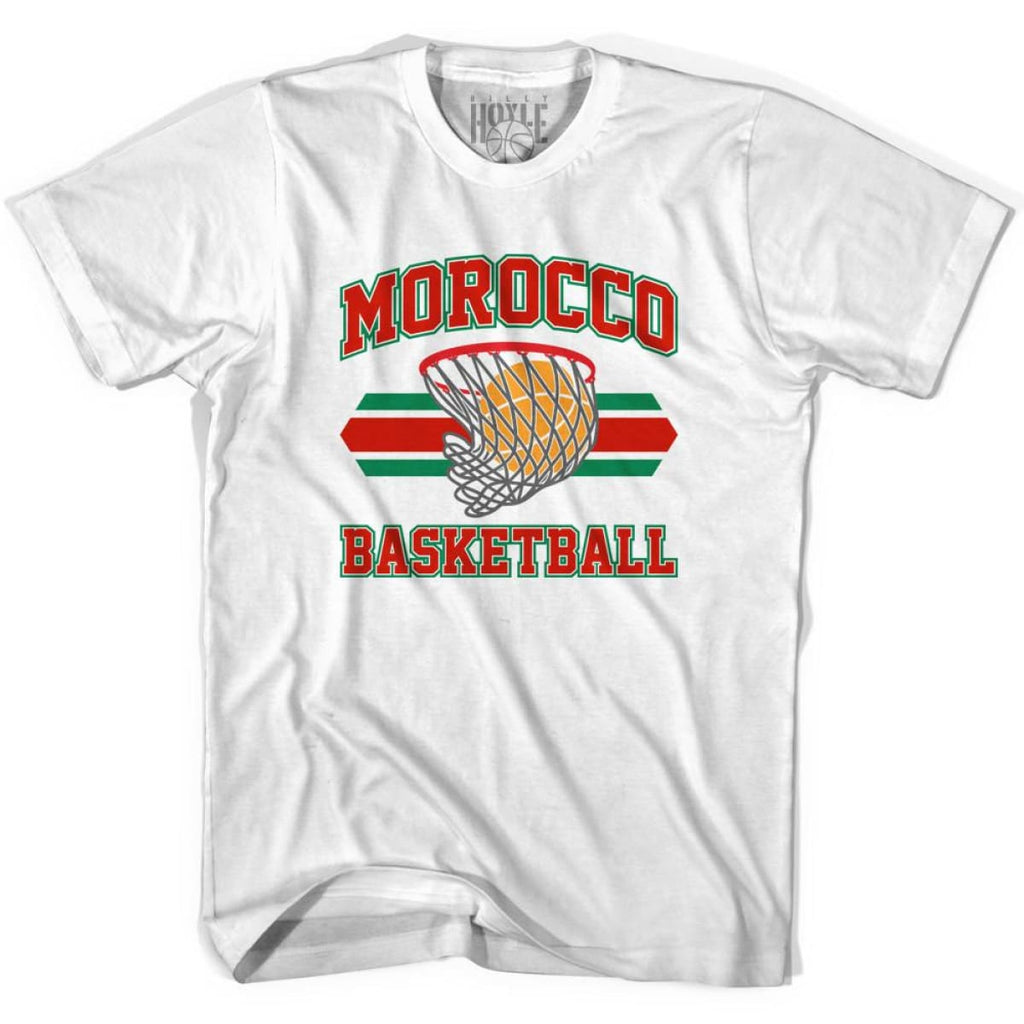 Morocco 90s Basketball T-shirts - White / Youth X-Small - Basketball T-shirt
