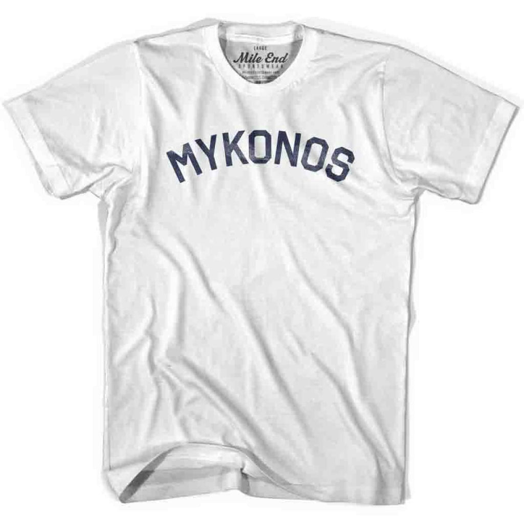 Mykonos City Vintage T-shirt - White / Youth Small - Mile End City