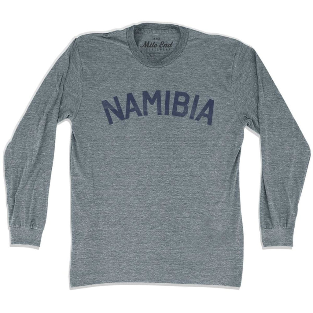 Namibia City Vintage Long Sleeve T-shirt - Athletic Grey / Adult X-Small - Mile End City