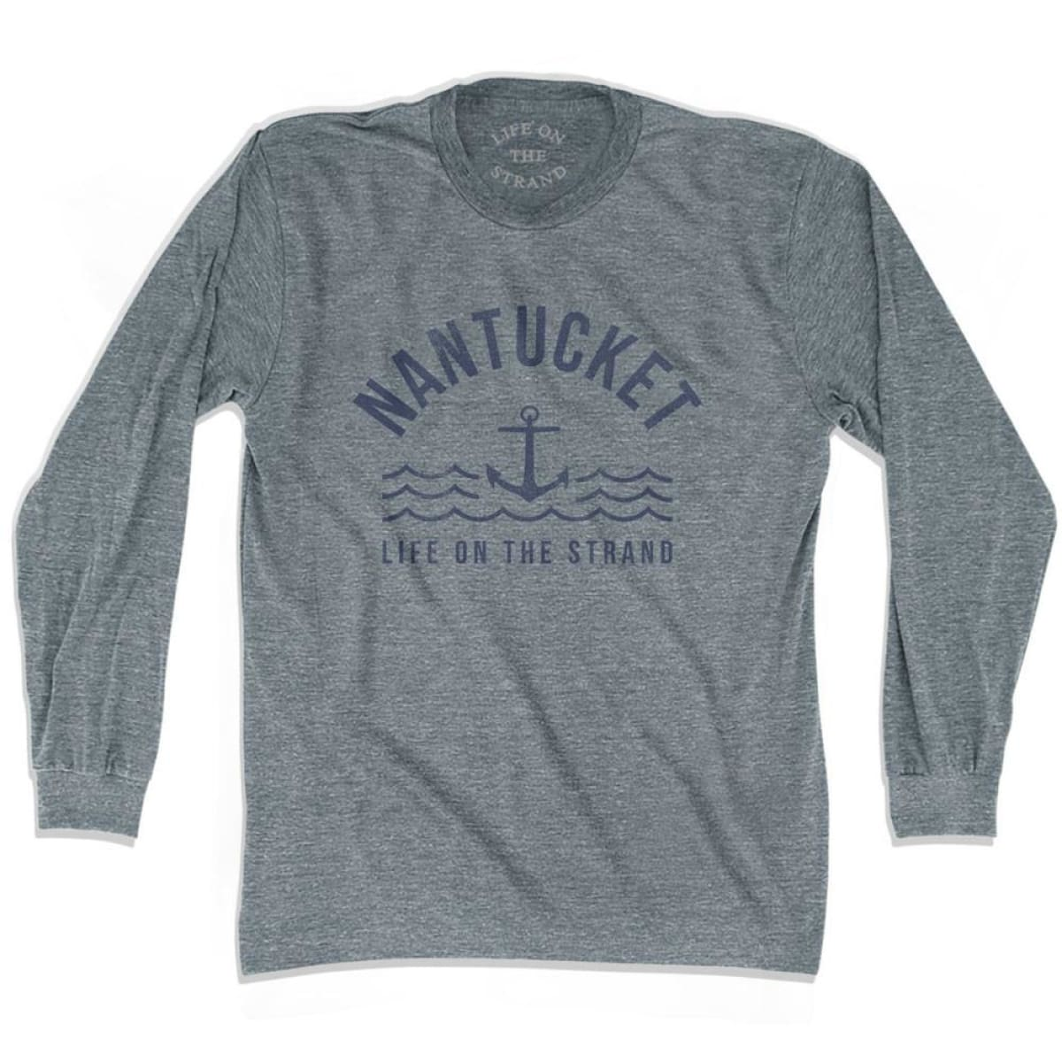 Nantucket Anchor Life on the Strand Long Sleeve T-shirt - Athletic Grey / Adult X-Small - Life on the Strand Anchor