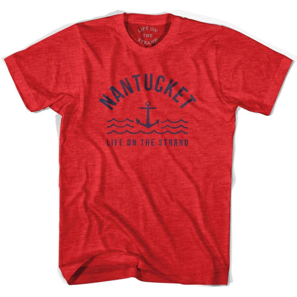 Nantucket Anchor Life on the Strand T-shirt - Heather Red / Adult Small - Life on the Strand Anchor