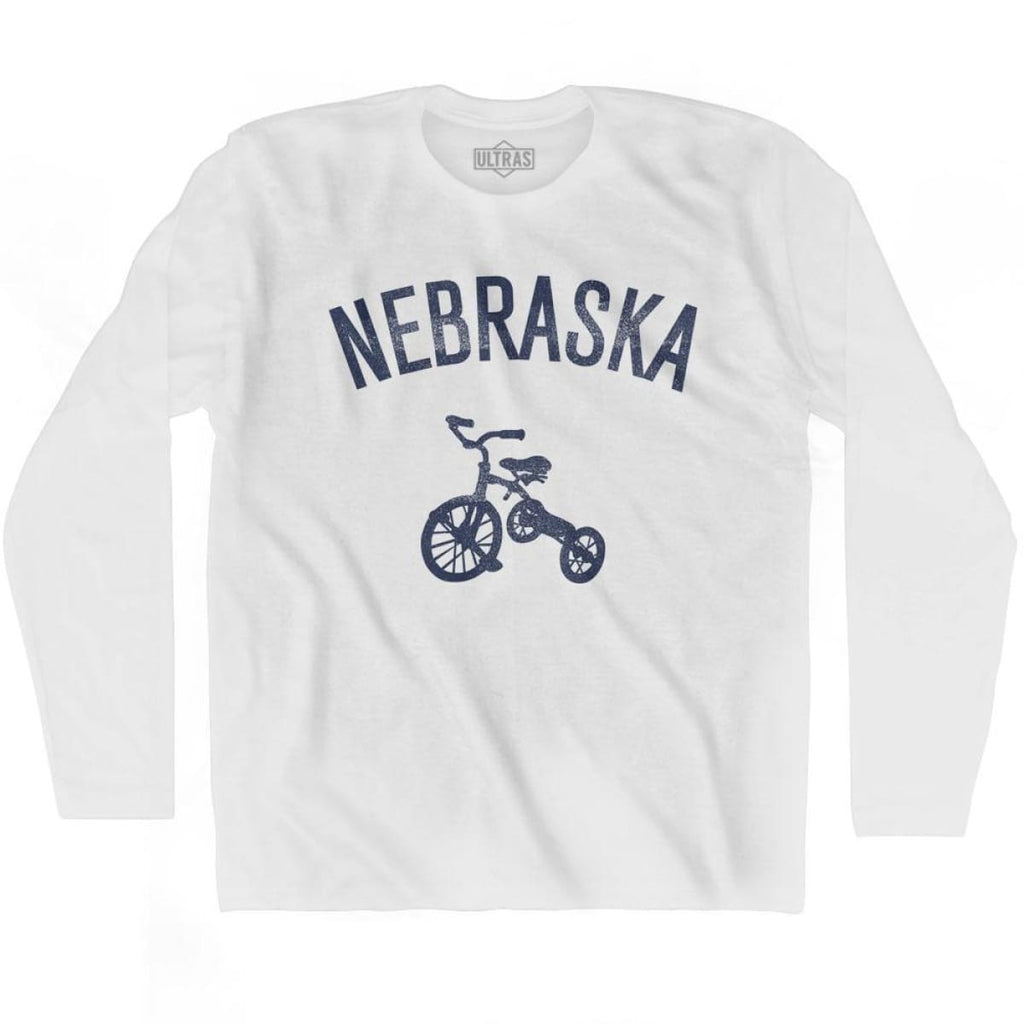 Nebraska State Tricycle Adult Cotton Long Sleeve T-shirt - White / Adult Small - Tricycle State