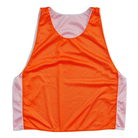 Reversible Mesh Contrast Color Pinnie Youth and Adult Sizes For Lacrosse, Field Hockey, Soccer in Neon Orange & White by Tribe Head Lacrosse