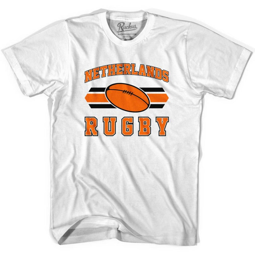 Netherlands 90s Rugby Ball T-shirt - White / Youth X-Small - Rugby Sevens