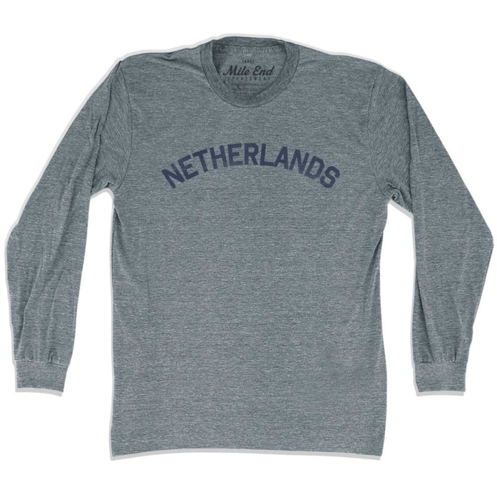 Netherlands City Vintage Long Sleeve T-shirt - Athletic Grey / Adult X-Small - Mile End City