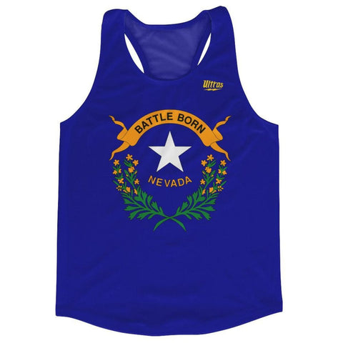 Nevada State Flag Running Tank Top Racerback Track and Cross Country Singlet Jersey - Royal Blue / Adult X-Small - Running Top