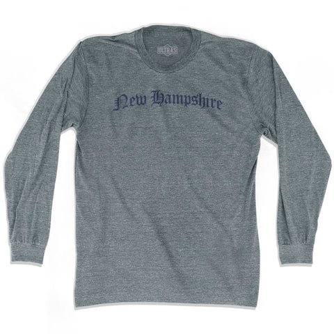 New Hampshire Old Town Font Long Sleeve T-shirt - Athletic Grey / Adult X-Small - Old Town Collection