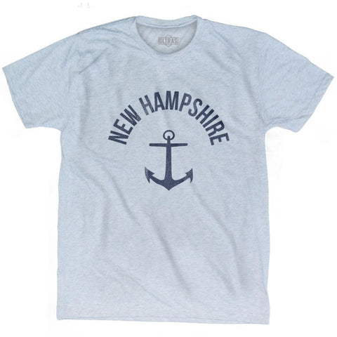 New Hampshire State Anchor Home Tri-Blend Adult T-shirt - Athletic White / Adult Small - Anchor Home