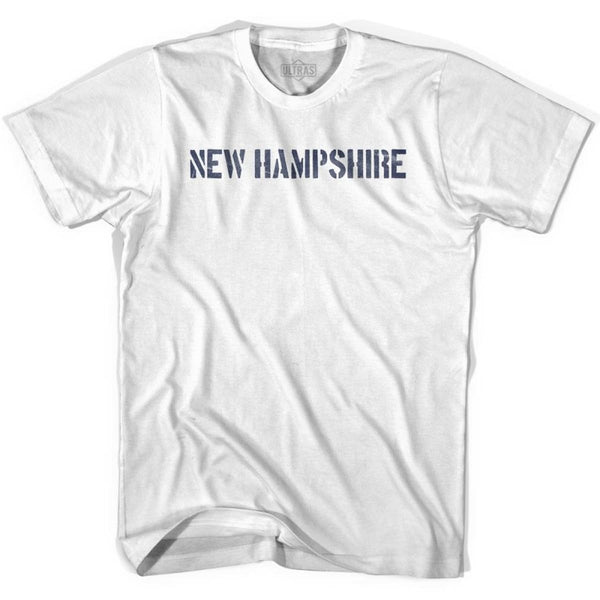 New Hampshire State Stencil Adult Cotton T-shirt - White / Adult Small - Stencil State