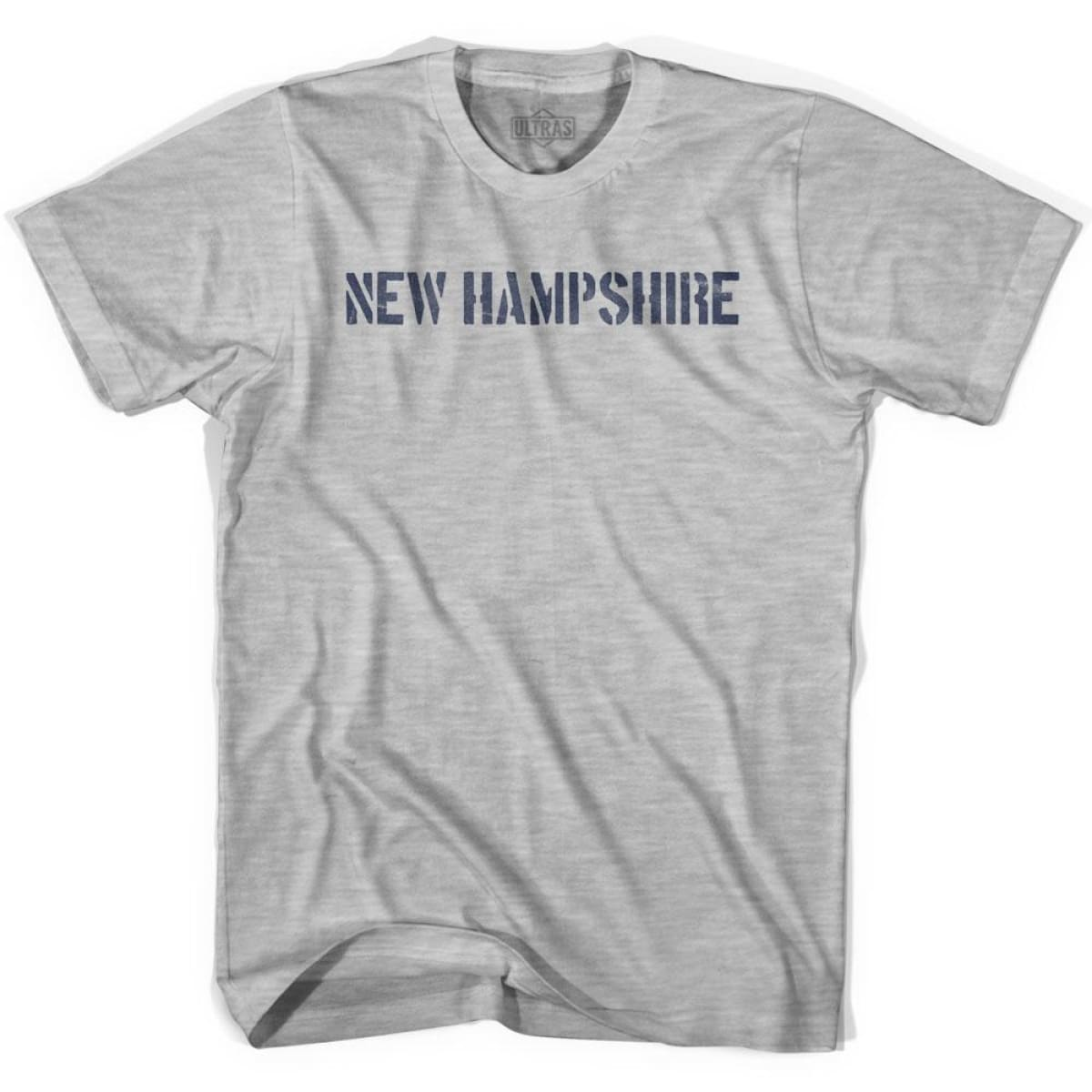 New Hampshire State Stencil Youth Cotton T-shirt - Grey Heather / Youth X-Small - Stencil State