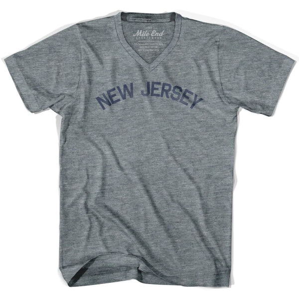 New Jersey City Vintage V-neck T-shirt - Athletic Grey / Adult X-Small - Mile End City