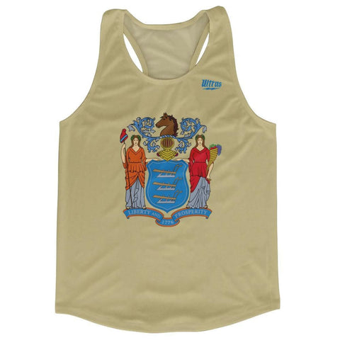 New Jersey State Flag Running Tank Top Racerback Track and Cross Country Singlet Jersey - Crème / Adult X-Small - Running Top