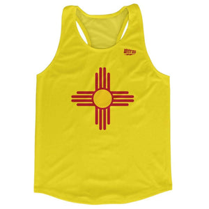 New Mexico State Flag Running Tank Top Racerback Track and Cross Country Singlet Jersey - Yellow / Adult X-Small - Running Top