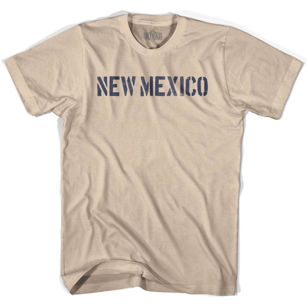 New Mexico State Stencil Adult Cotton T-shirt - Creme / Adult Small - Stencil State