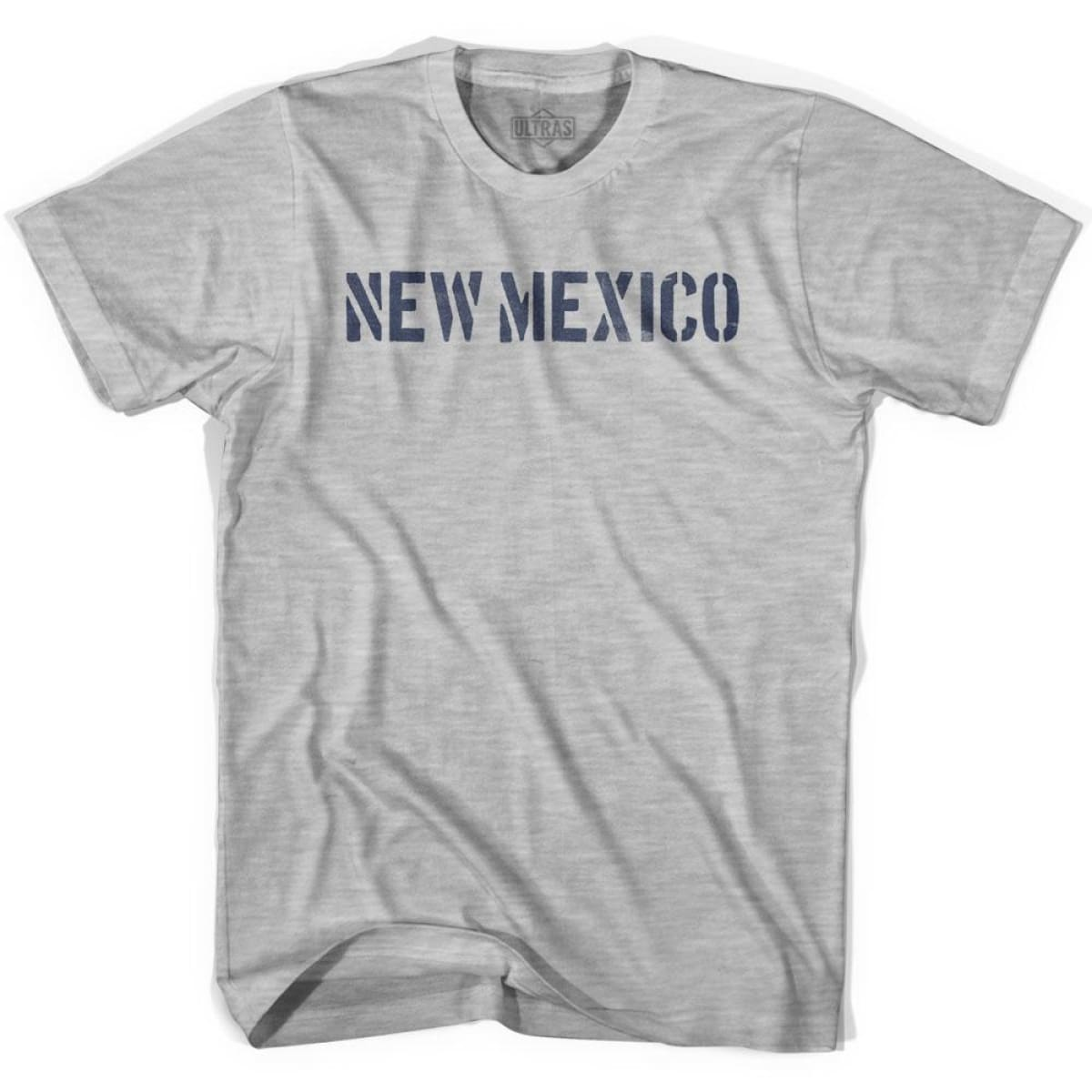 New Mexico State Stencil Adult Cotton T-shirt - Grey Heather / Adult Small - Stencil State