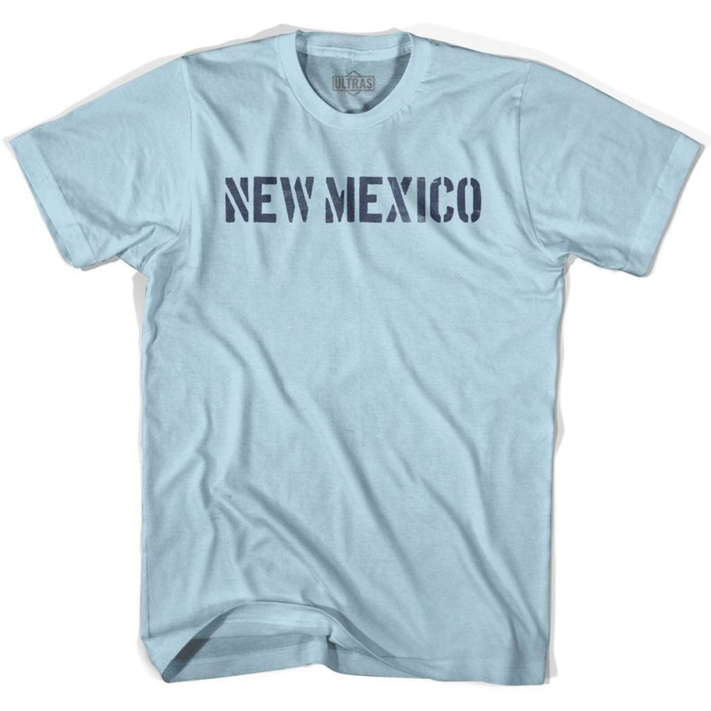 New Mexico State Stencil Adult Cotton T-shirt - Light Blue / Adult Small - Stencil State