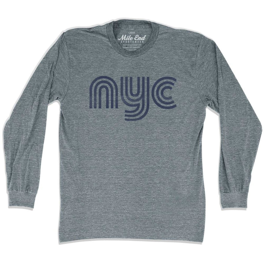 New York NYC Vintage Long Sleeve T-shirt - Athletic Grey / Adult X-Small - Mile End City