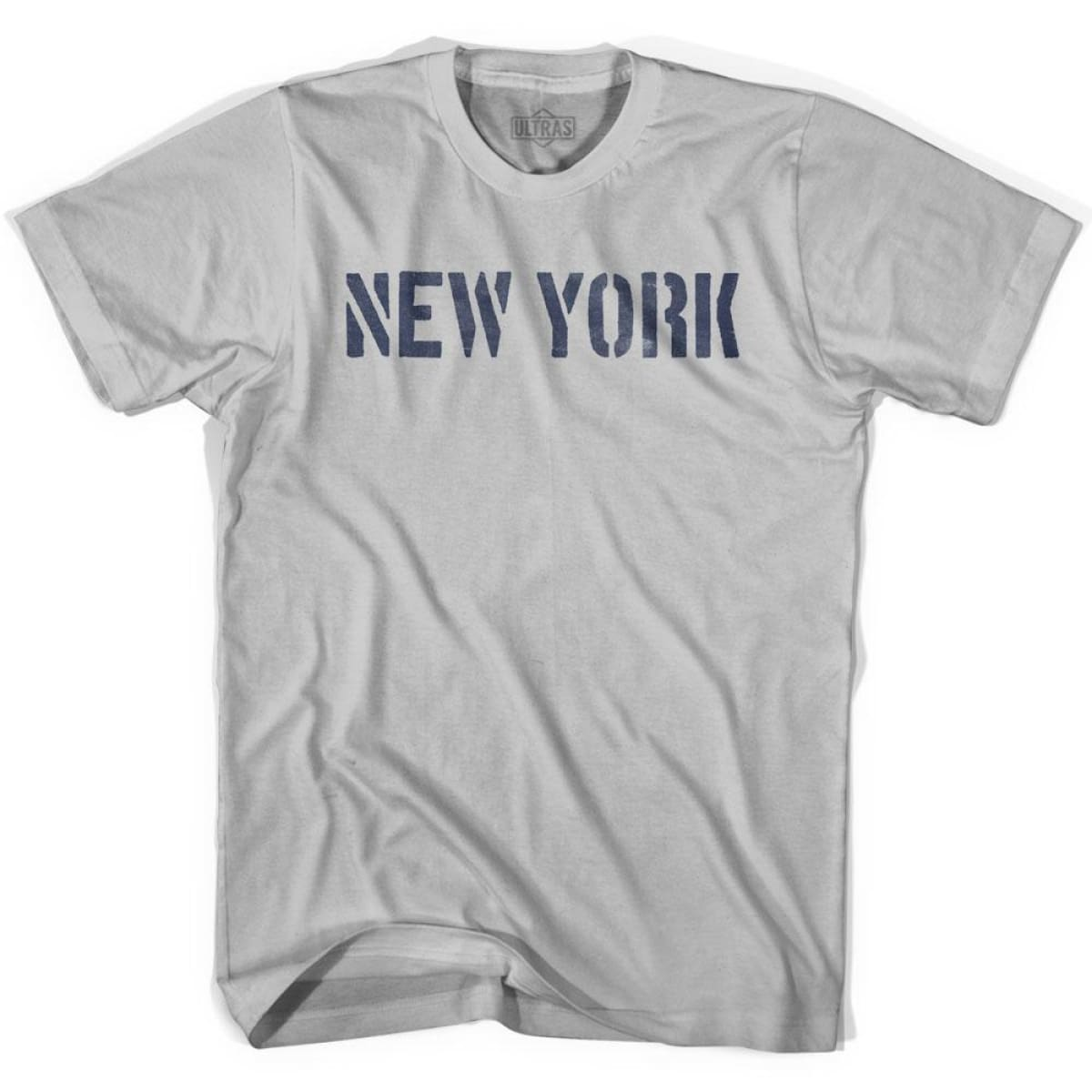 New York State Stencil Adult Cotton T-shirt - Cool Grey / Adult Small - Stencil State