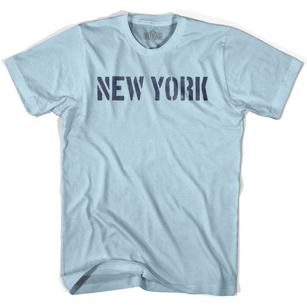 New York State Stencil Adult Cotton T-shirt - Light Blue / Adult Small - Stencil State