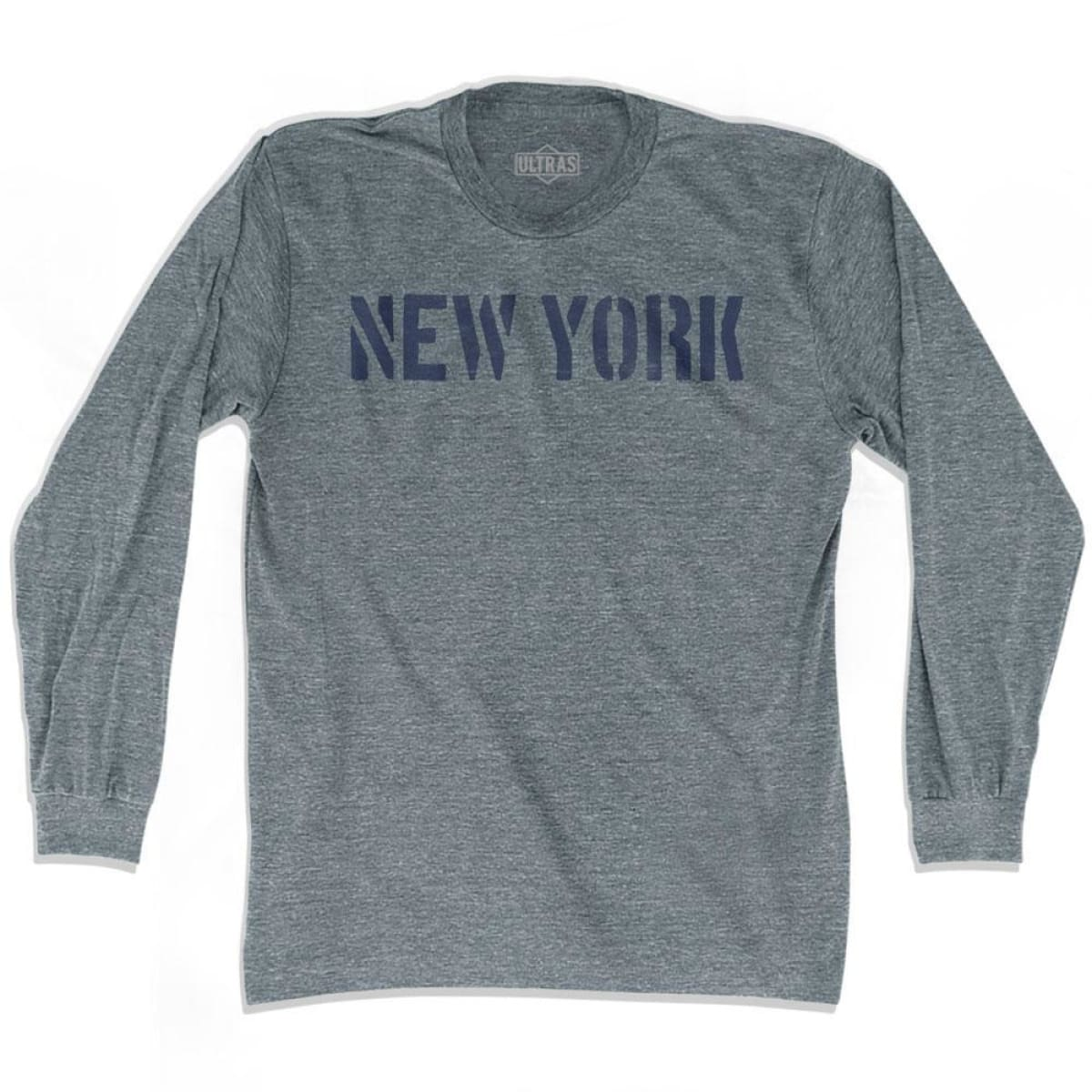 New York State Stencil Adult Tri-Blend Long Sleeve T-shirt - Athletic Grey / Adult Small - Stencil State