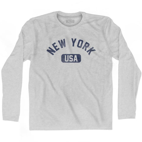 New York USA Adult Cotton Long Sleeve T-shirt - Grey Heather / Adult Small - USA State