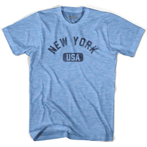 New York USA Adult Tri-Blend T-shirt - Athletic Blue / Adult Small - USA State