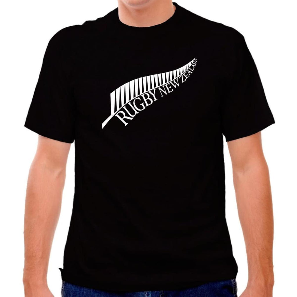 New Zealand Fern Rugby T-shirt - Black / Adult Small - Rugby T-shirt