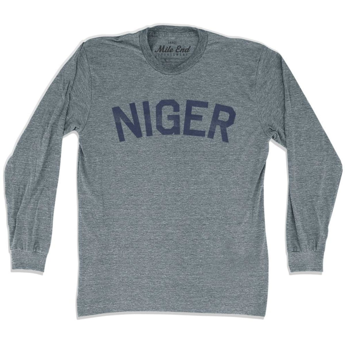 Niger City Vintage Long Sleeve T-shirt - Athletic Grey / Adult X-Small - Mile End City