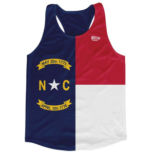 North Carolina State Flag Running Tank Top Racerback Track and Cross Country Singlet Jersey - Blue White & Red / Adult X-Small - Running Top