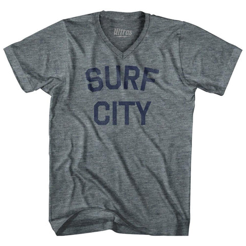 North Carolina Surf City Adult Tri-Blend V-neck Vintage T-shirt by Ultras