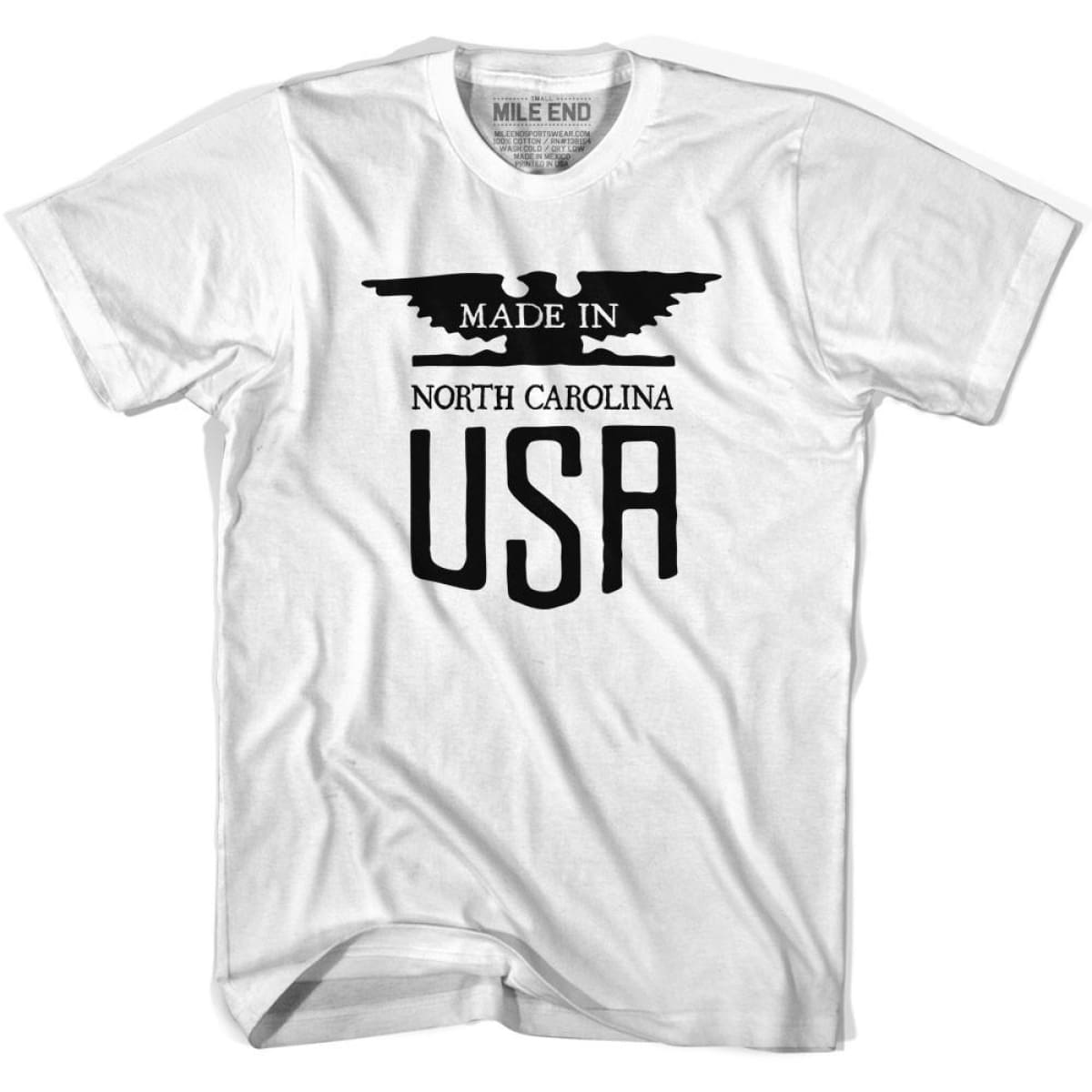 North Carolina Vintage Eagle T-shirt - White / Youth X-Small - Made in Eagle