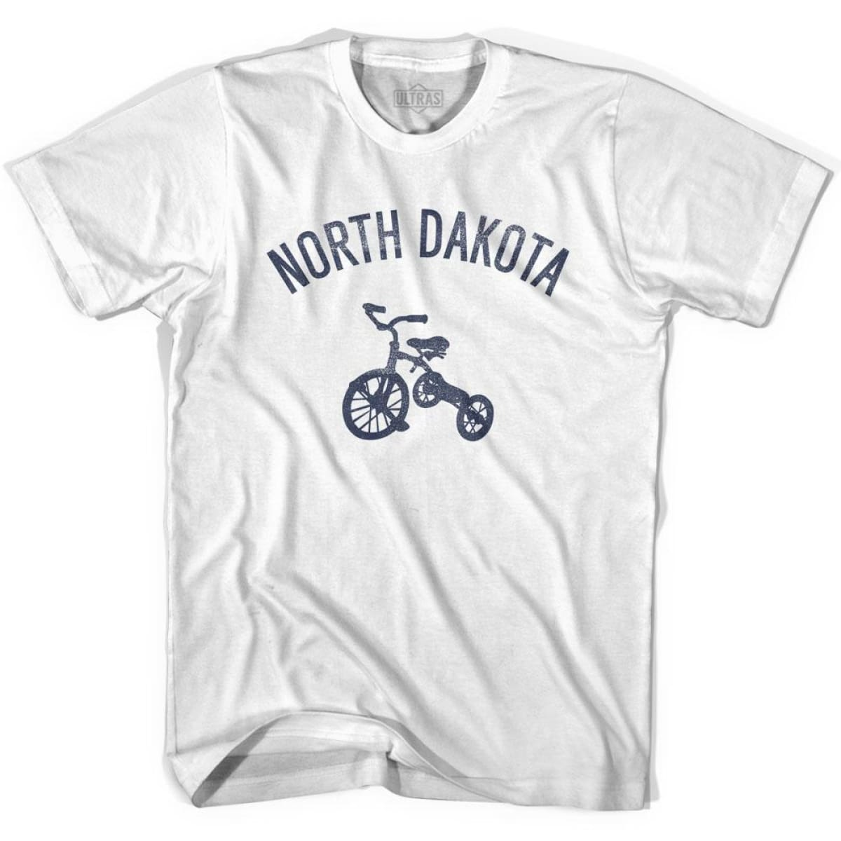 North Dakota State Tricycle Adult Cotton T-shirt - White / Adult Small - Tricycle State