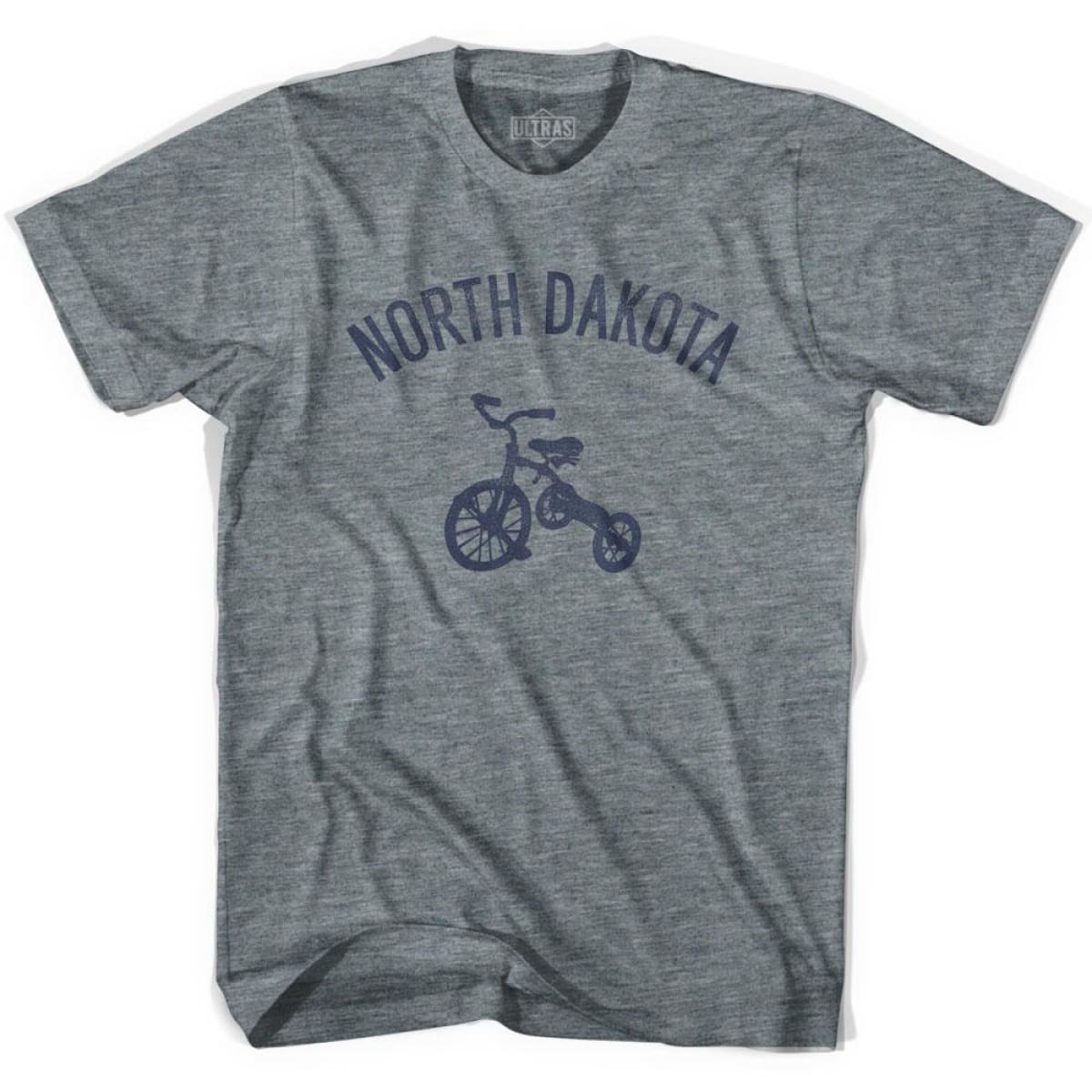 North Dakota State Tricycle Womens Tri-Blend T-shirt - Athletic Grey / Womens Small - Tricycle State
