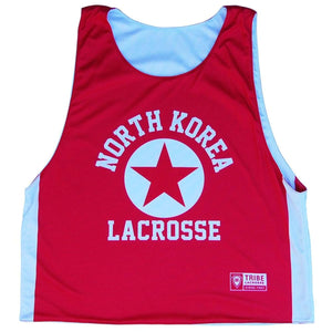 North Korea Reversible Lacrosse Pinnie - Red & White / Youth X-Small / No - Graphic Lacrosse Pinnies