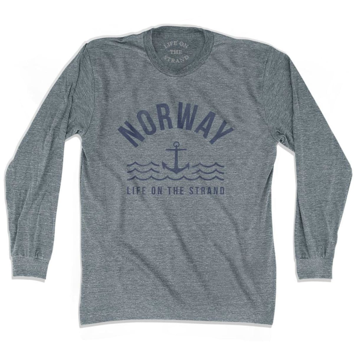 Norway Anchor Life on the Strand Long Sleeve T-shirt - Athletic Grey / Adult X-Small - Life on the Strand Anchor
